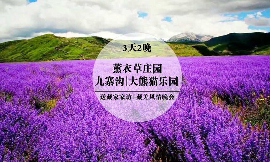 [成都出发]九寨沟-薰衣草庄园-大熊猫乐园三日游